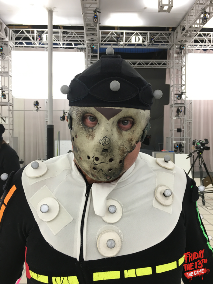 Jason actor, Kane Hodder, donning the mask on the mocap stage