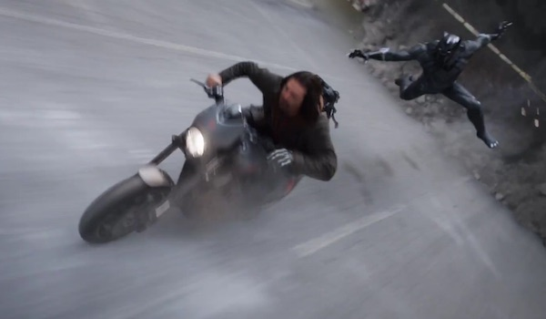 Black Panther chases Bucky Barnes the Winter Solder on motorcycle