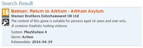 Batman Arkham PEGI listing