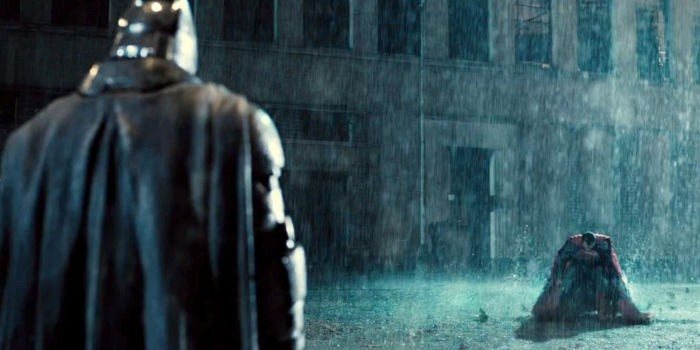Batman and Supes in the rain