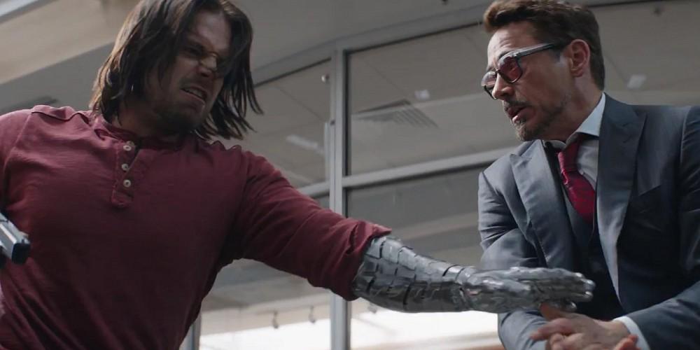 Bucky Barnes Winter Soldier fighting Iron Man Tony Stark