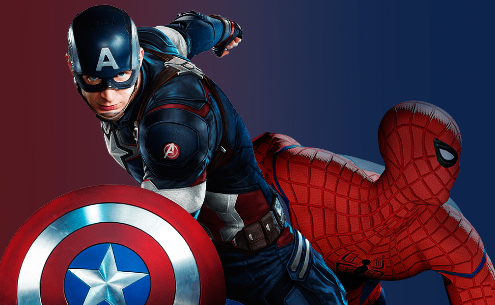 Captain America and Spider Man civil war blue and red