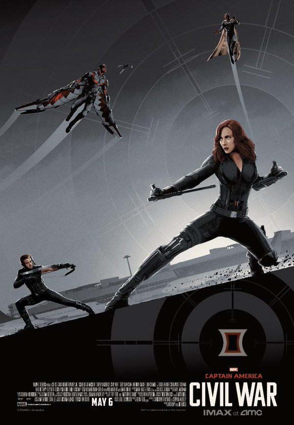 captain america, civil war, poster, graphic art, IMAX, AMC, black widow, hawkeye, falcon, vision