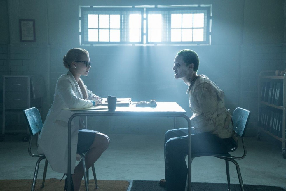 Jared Leto as Joker talking to Margot Robbie as doctor Suicide Squad