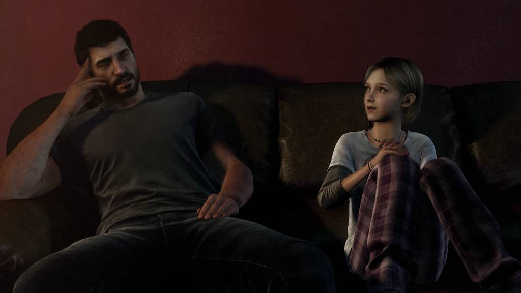 Joel and Sarah in The Last of Us