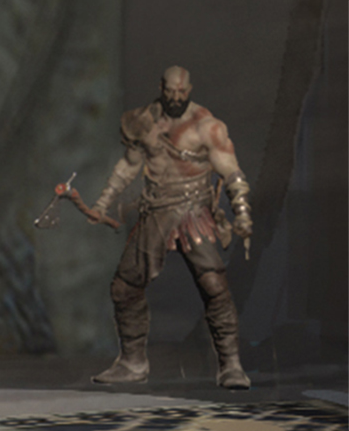 Fully bearded Kratos