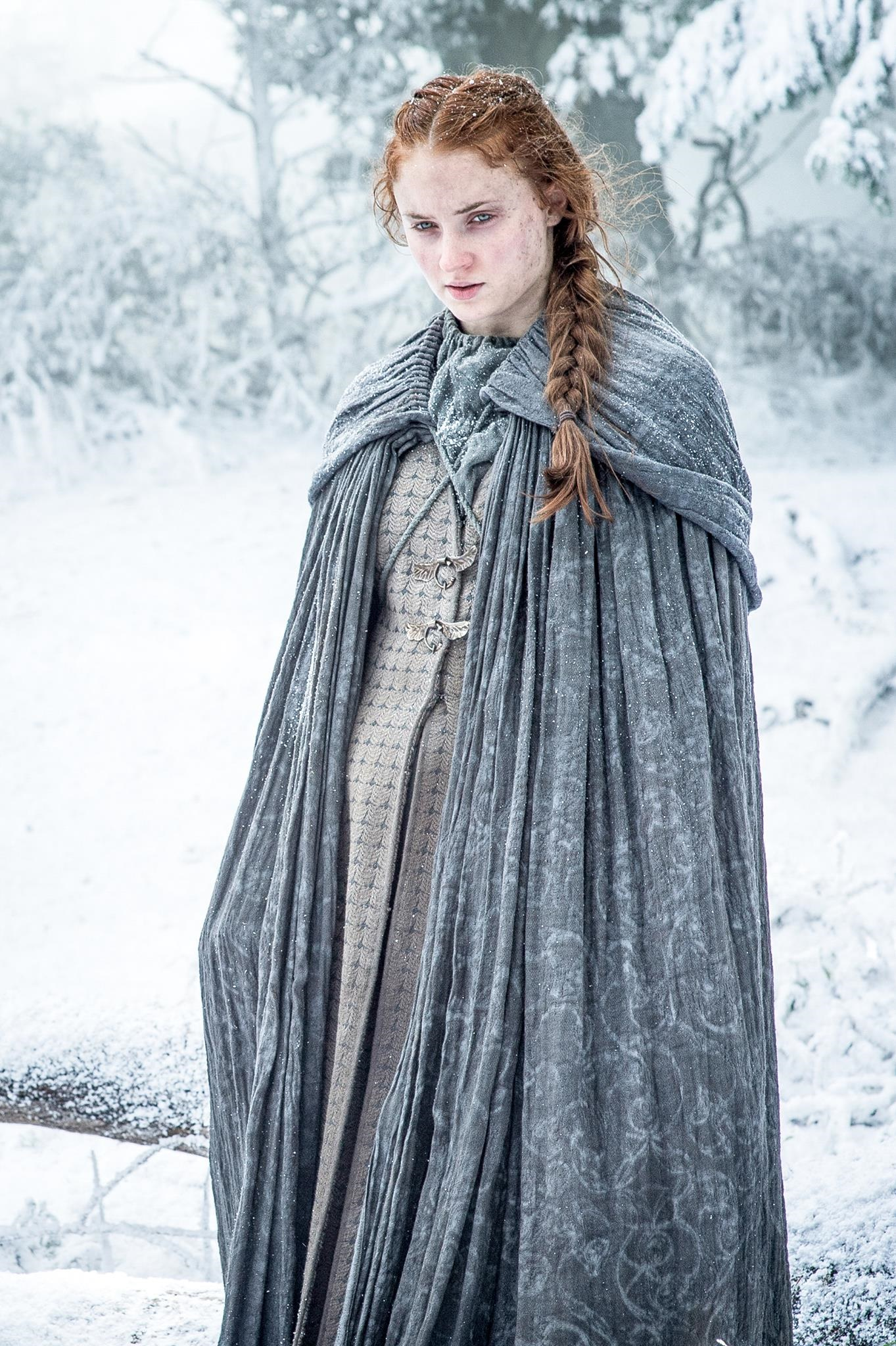 sansa stark, game of thrones, season 6, sophie turner, snow, winterfell