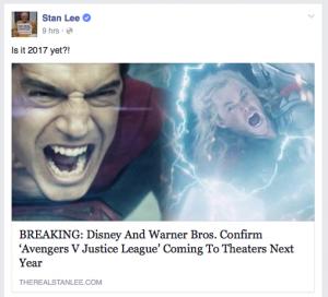 stan lee, avengers, justice league, april fools, dc, marvel