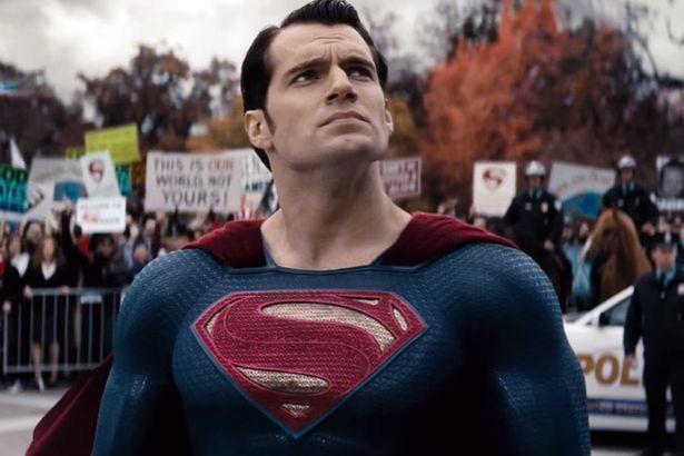 Superman looking up protesters Batman v Superman