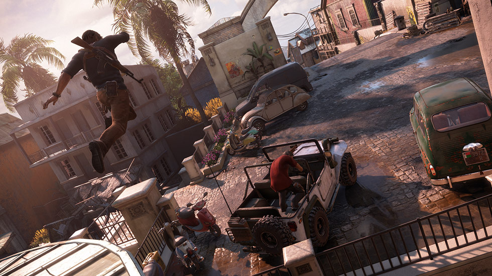 Uncharted 4 jumping over cars