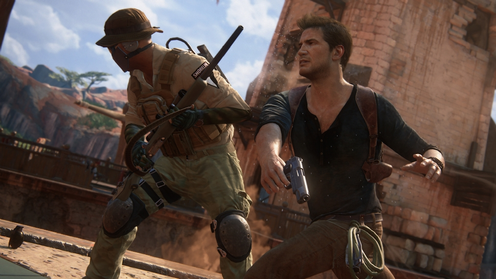 Uncharted 4 Drake punching a guy in the face