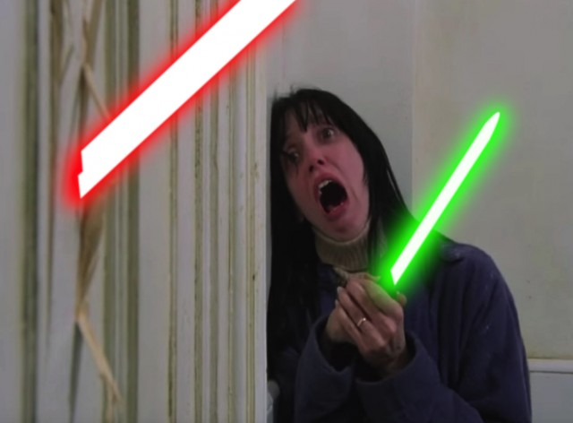 Wendy and Jack with Lightsabers