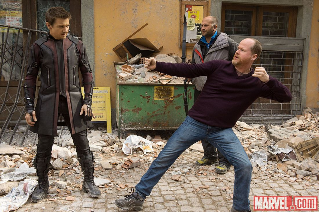 Joss Whedon and Jeremy Renner as Hawkeye on set of Avengers: Age of Ultron