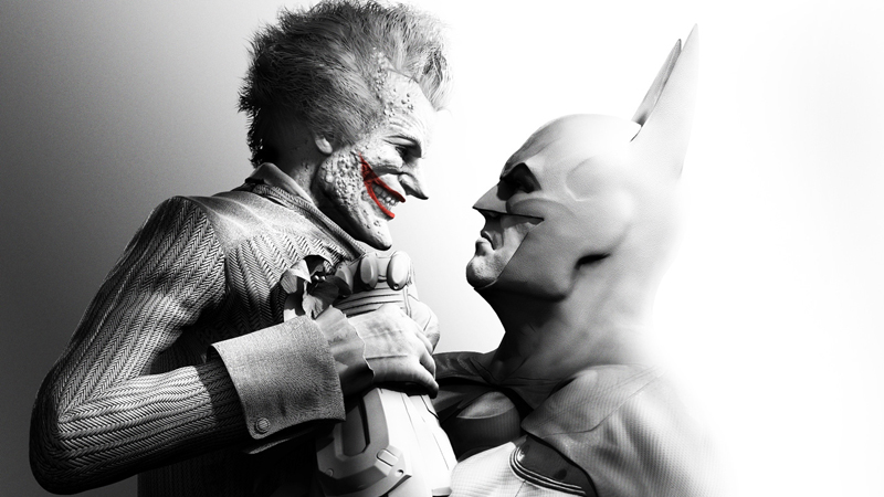 arkham city Batman holding Joker in black and white