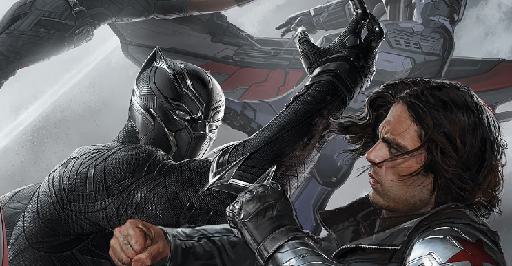 Black Panther fighting Winter Soldier art