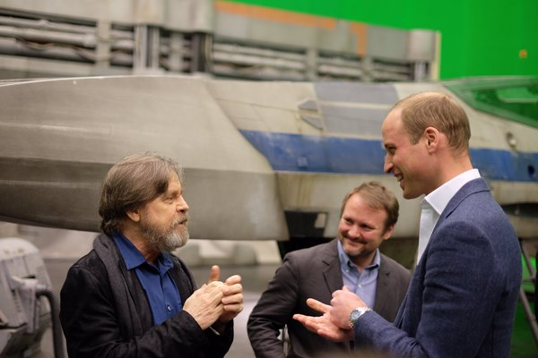 Mark Hamill Luke Skywalker talking to Prince William and Prince Harry