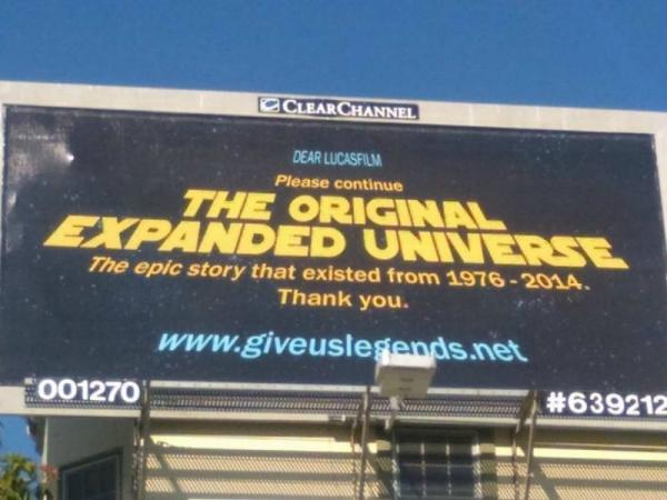 star wars, billboard, expanded universe, star wars fans, fan billboard, give us legends, giveuslegends.net