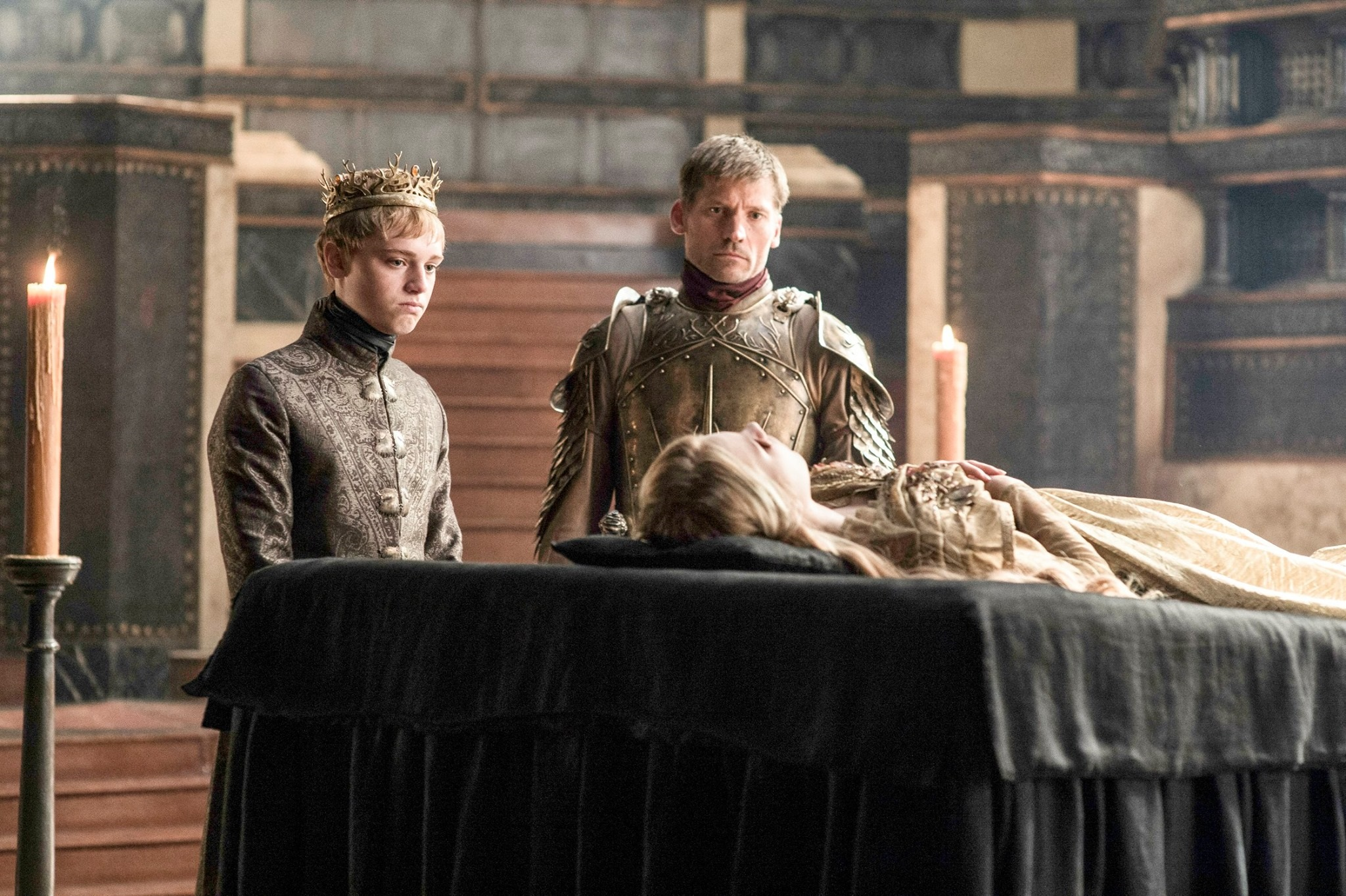 Game of Thrones Tommen and Jamie at Myrcella's funeral