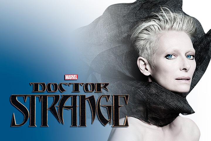 Tilda Swinton Doctor Strange logo black collar