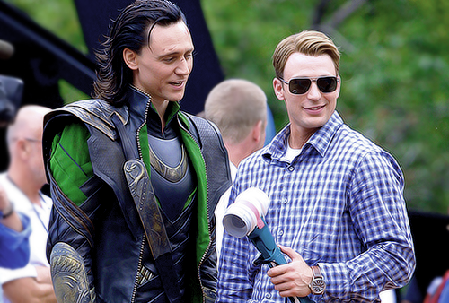 Tom Hiddleston as Loki and Chris Evans as Steve Rogers at end of Avengers
