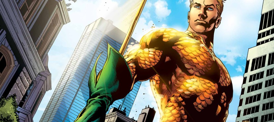 Aquaman yellow and green suit blue sky