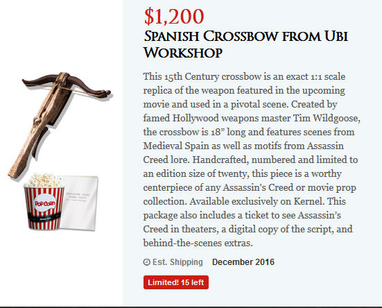 Assassin's Creed movie crossbow pre-ordrer