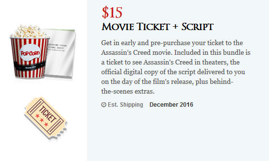 Assassin's Creed movie pre-order ticket and script