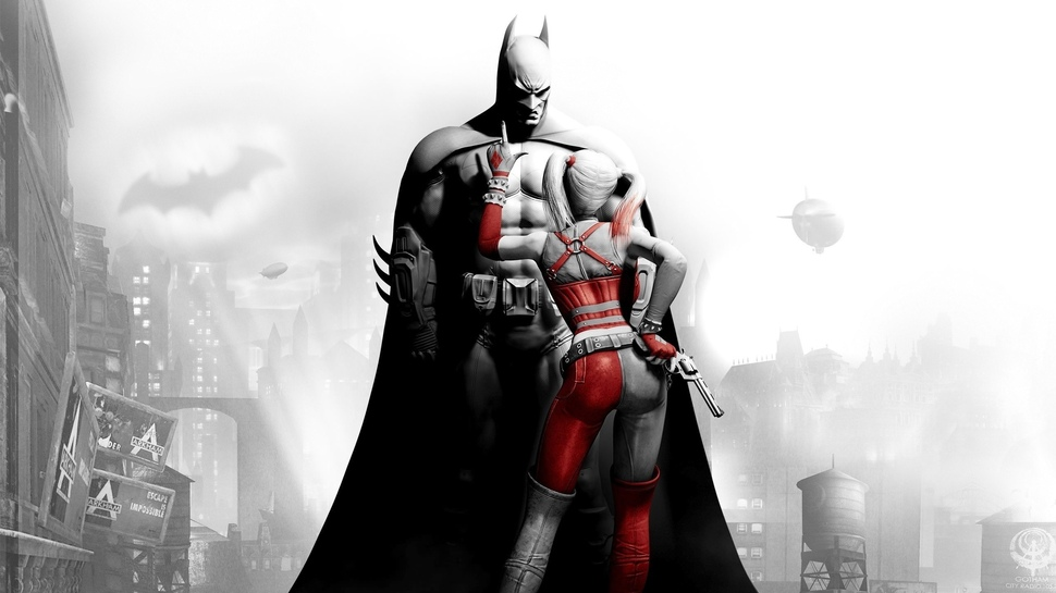 Batman Arkham City, black and white promo art with Batman and Harley Quinn