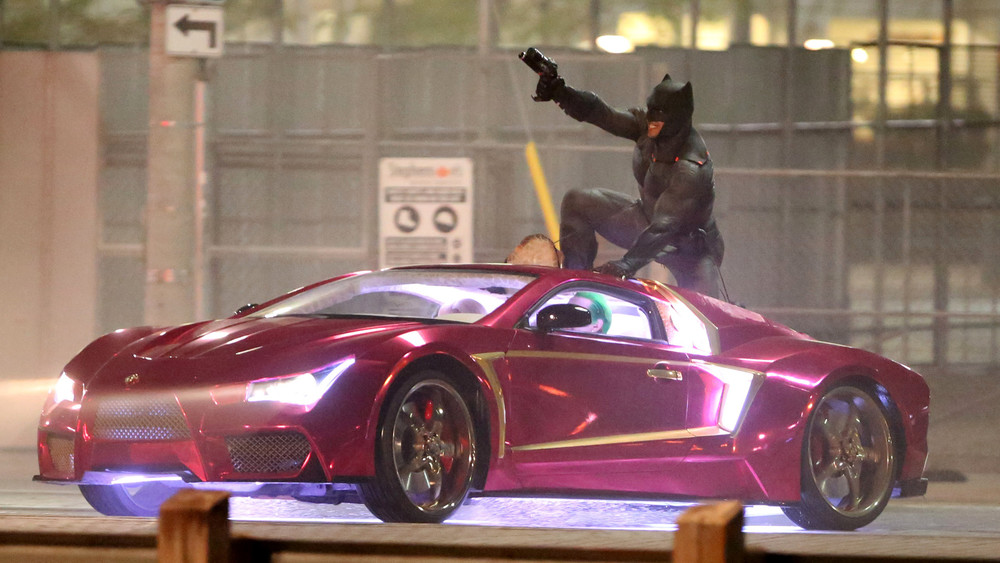Batman in Suicide Squad on Joker's Car on set