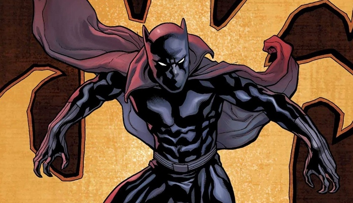 Black Panther comic yellow background with cape