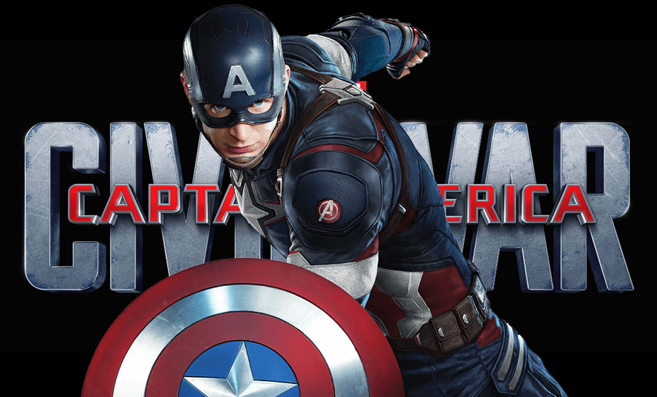 Captain America Chris Evans with shield Civil War logo