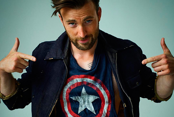 Chris Evans Captain America Civil War shirt by Peggy Peggy Sirota for Rolling Stone