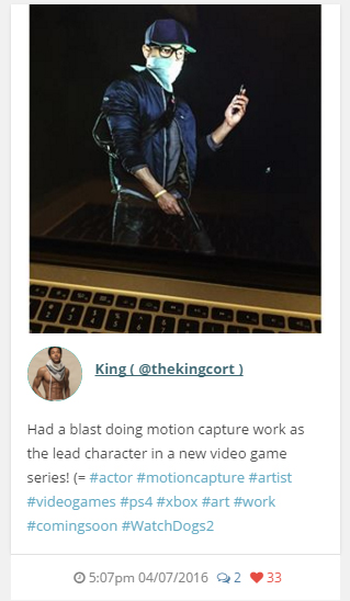 Cort King Instagram Post on Watch Dogs 2