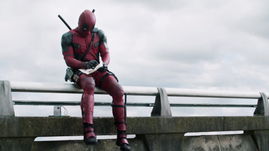 Deadpool drawing on the highway
