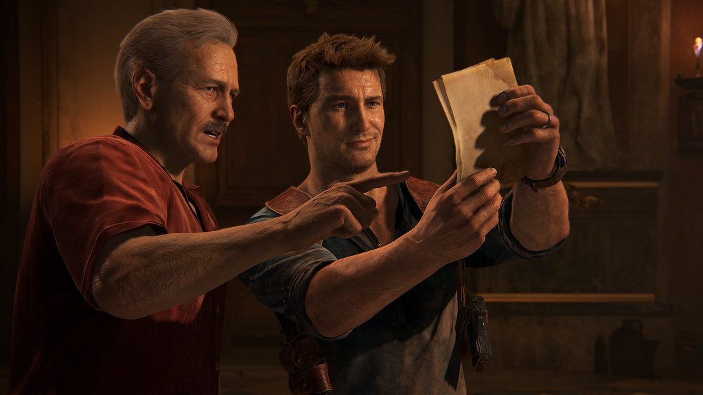 Drake and Sully in Uncharted 4 solving clues