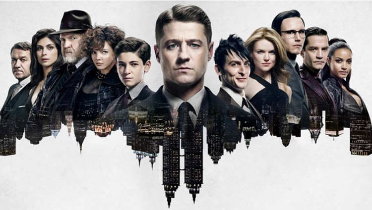 Gotham promo art with city and characters in bat-symbol shape