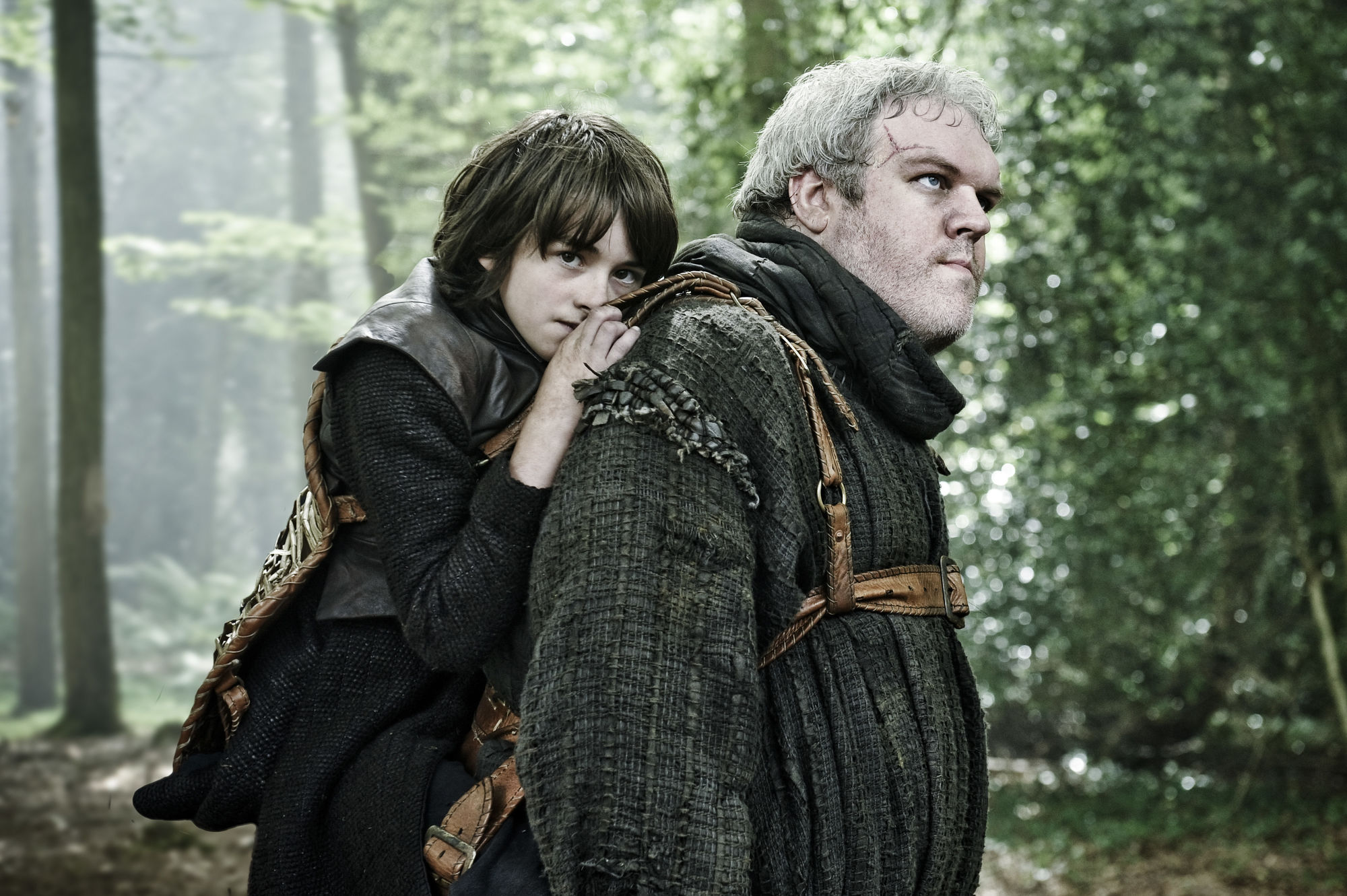 Game of Thrones Bran on Hodor's back in woods