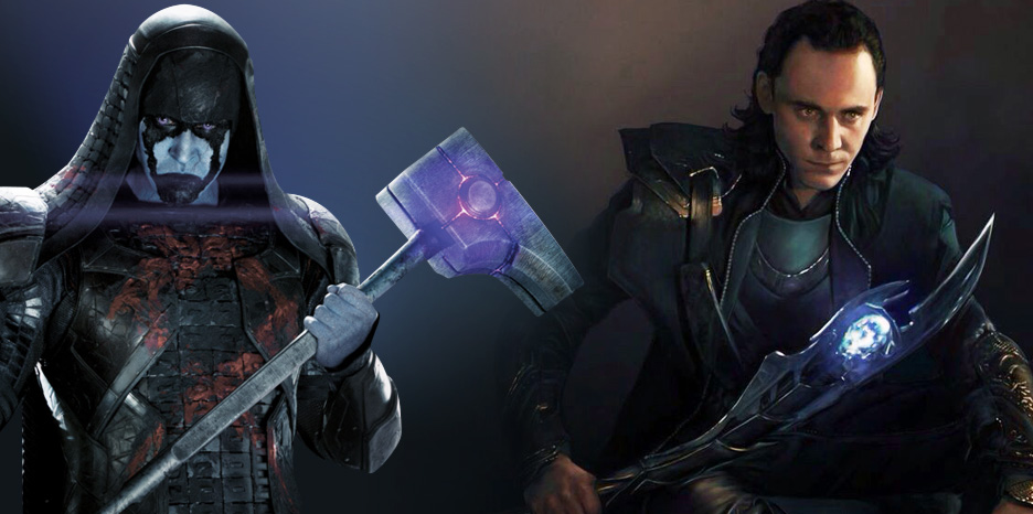 Ronan the Accused and Loki with Infinity Stones