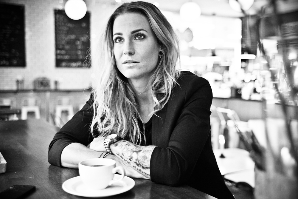 madeleine vall black and white image coffee shop