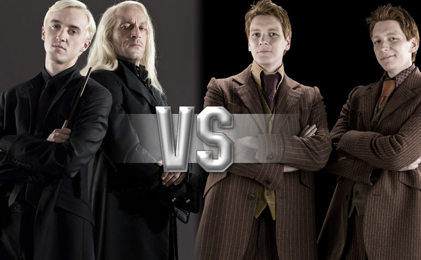 Tom Felton as Draco Malfoy with Jason Isaacs as Lucius Malfoy vs Oliver Phelps as George Weasley and James Phelps as Fred Weasley