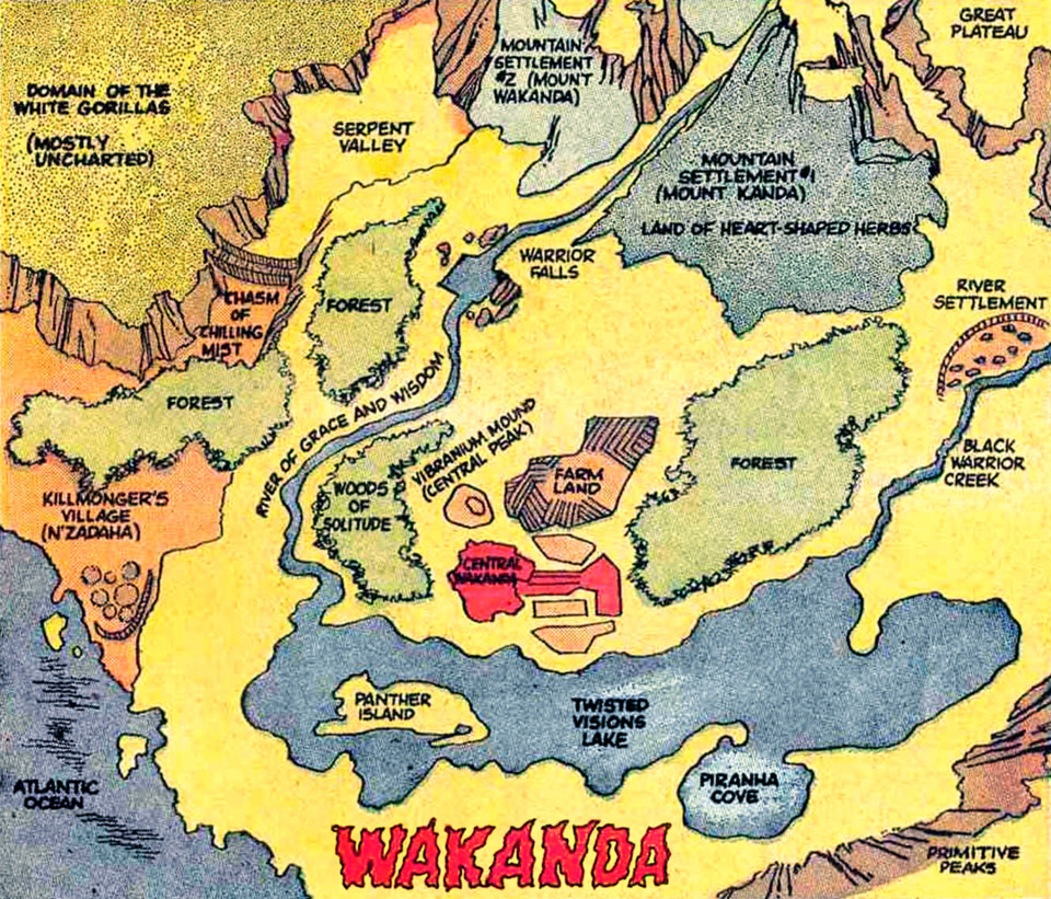 Map of Wakanda in Africa
