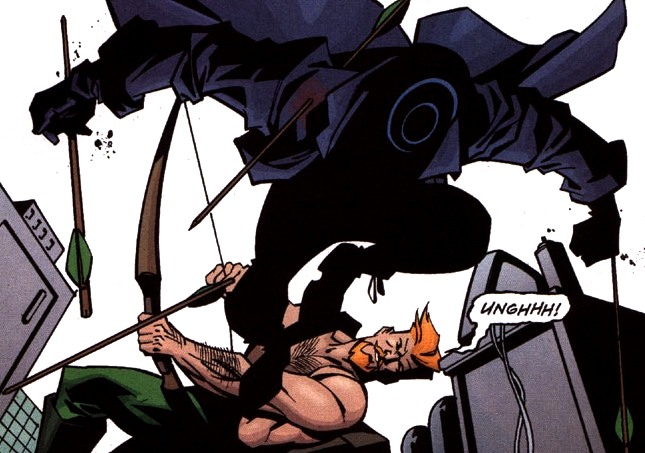 Onomatopoeia and unmasked Green Arrow