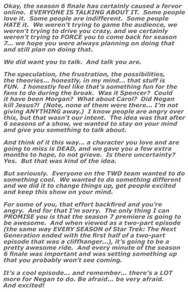 Robert Kirkman's open letter to The Walking Dead fans defending season 6 finale