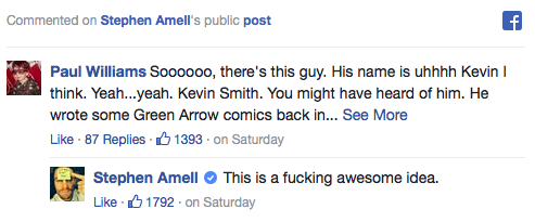 Stephen Amell endorses Kevin Smith writing 'Arrow' episode Facebook post