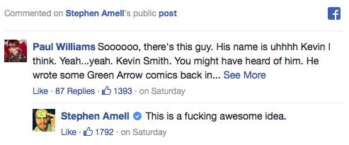 Stephen Amell endorses Kevin Smith writing 'Arrow' episode Facebook post