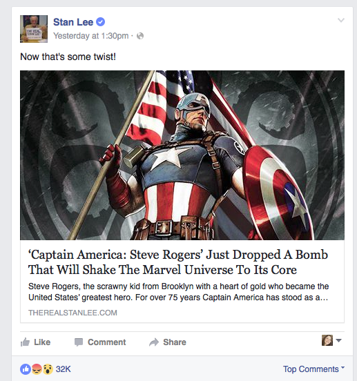 Stan Lee Captain AMerica Hydra Facebook