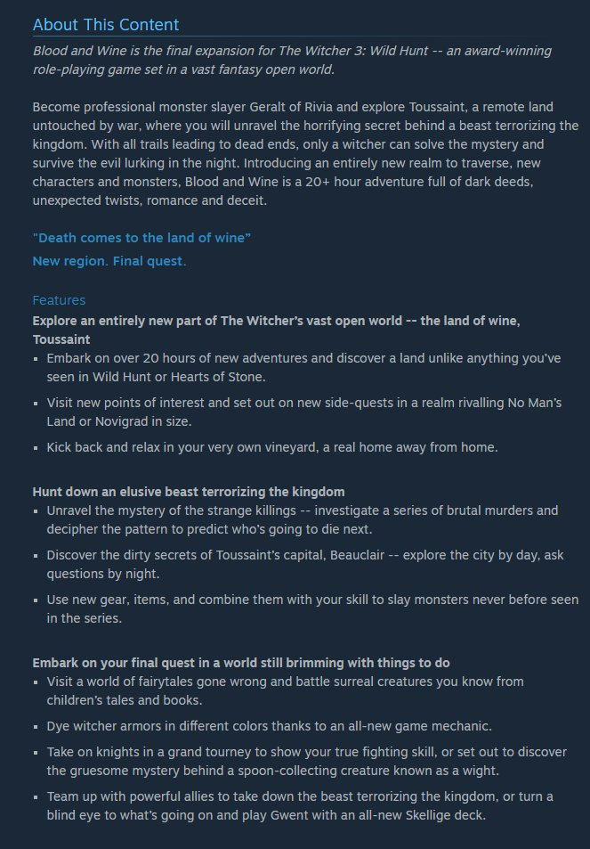 The Witcher 3 Steam Leak Blood and Wine content information screenshot