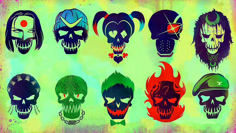Suicide Squad character icons promo art