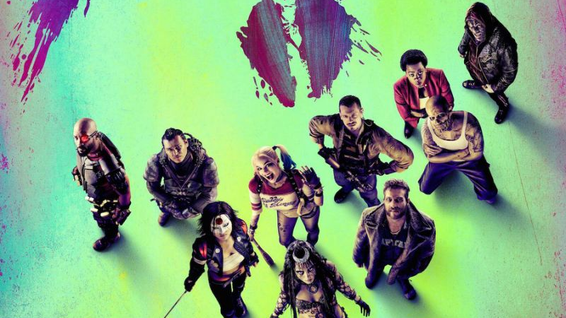 Suicide Squad promo art, cast looking up green background