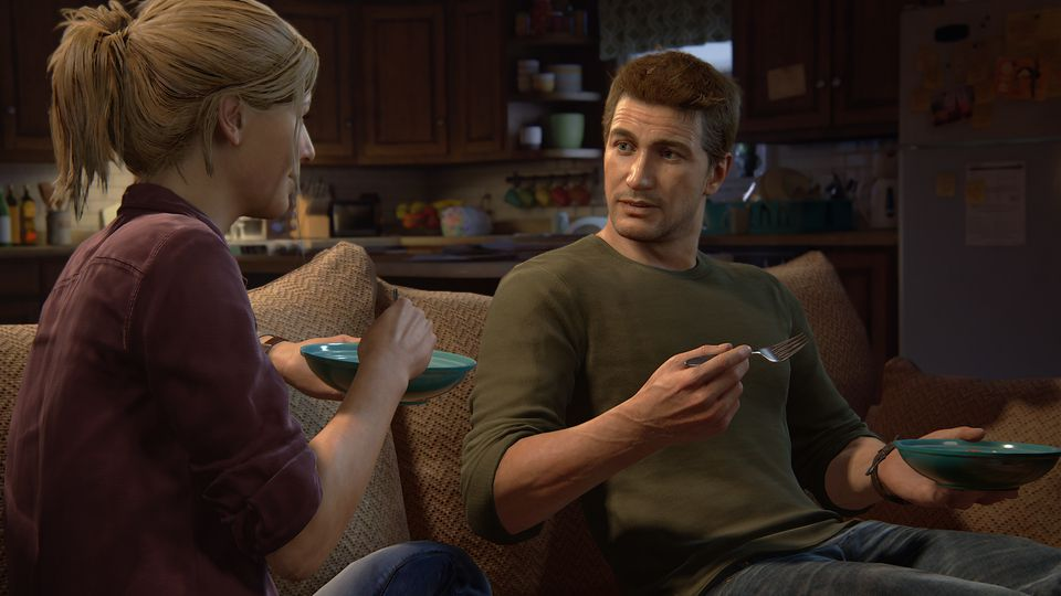 Uncharted 4 Drake and Elena having dinner